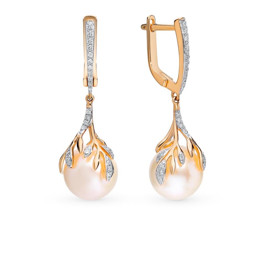 Золотые серьги с жемчугом и бриллиантами в Екатеринбурге