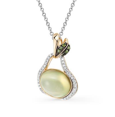 Фото «золотая подвеска с пренитами и бриллиантами»