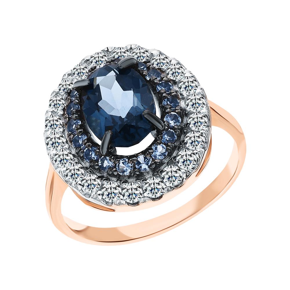 Золотое кольцо с фианитами и топазами синтетическими в Санкт-Петербурге