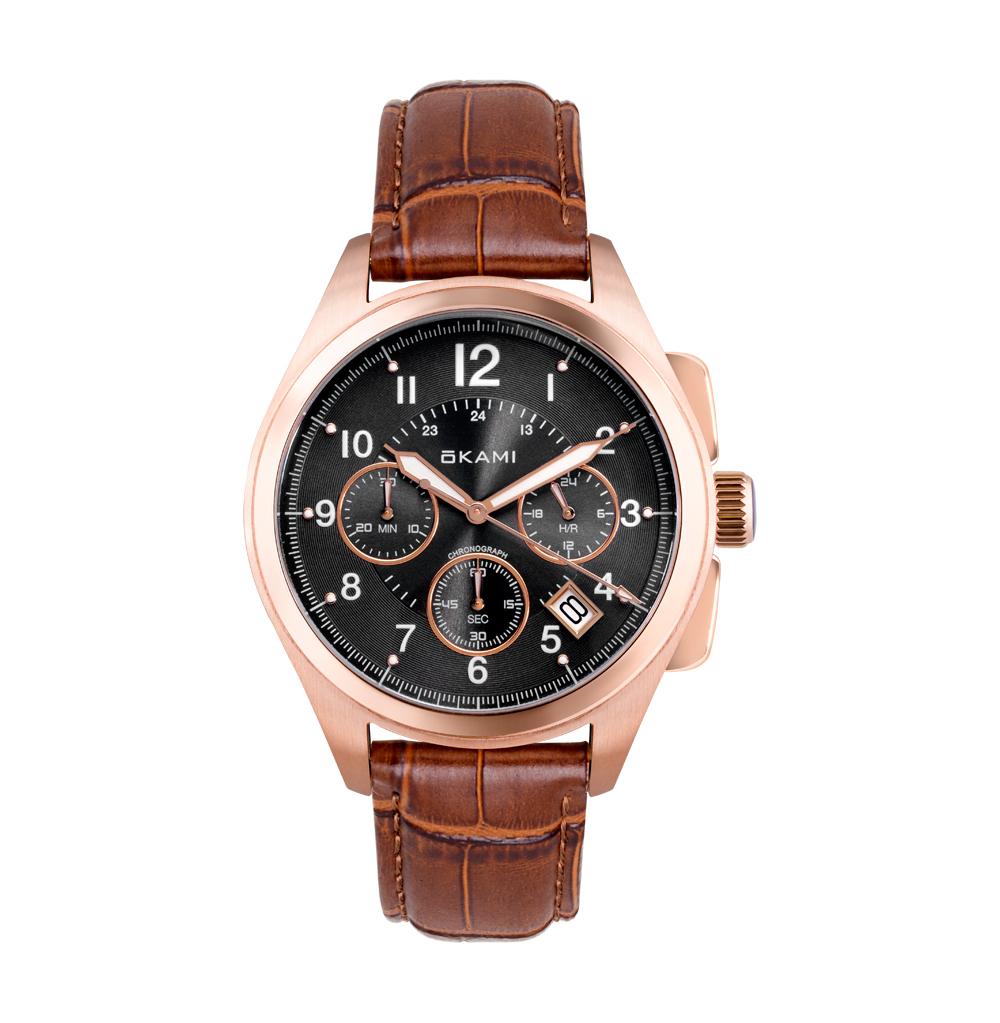 Мужские часы с хронографом на ремне из натуральной кожи