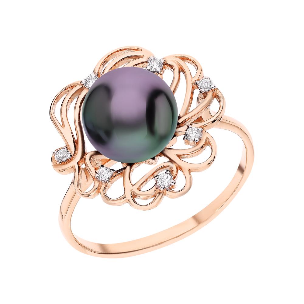 Серебряное кольцо с жемчугами культивированными и кубическими циркониями в Санкт-Петербурге