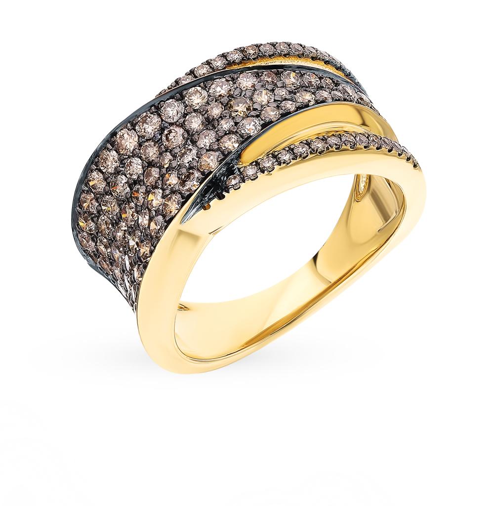 Фото «Золотое кольцо с бриллиантами коньячными и бриллиантами»