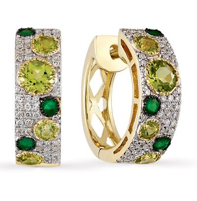 золотые серьги с хризолитом, изумрудами и бриллиантами