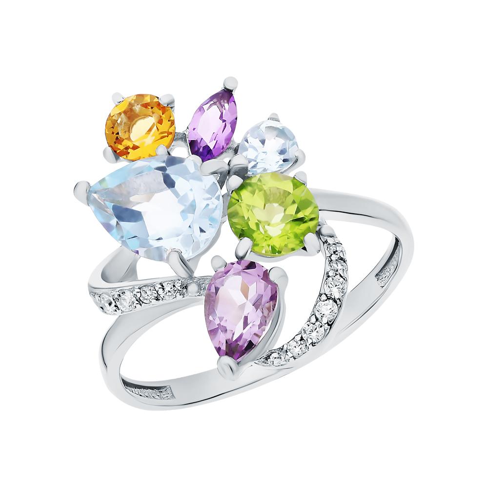 Фото «Серебряное кольцо с хризолитом, аметистом, топазами, фианитами и цитринами»