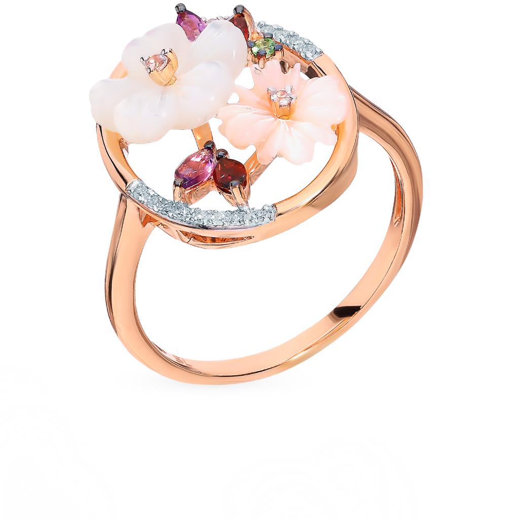 золотое кольцо с сапфирами, аметистом, гранатом, перламутром, цаворитами и бриллиантами