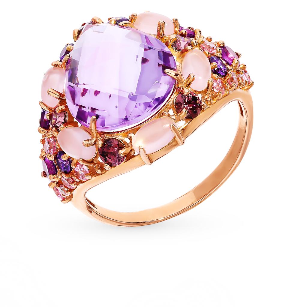 Фото «Золотое кольцо с аметистом, кварцем, со шпинелью и фианитами»