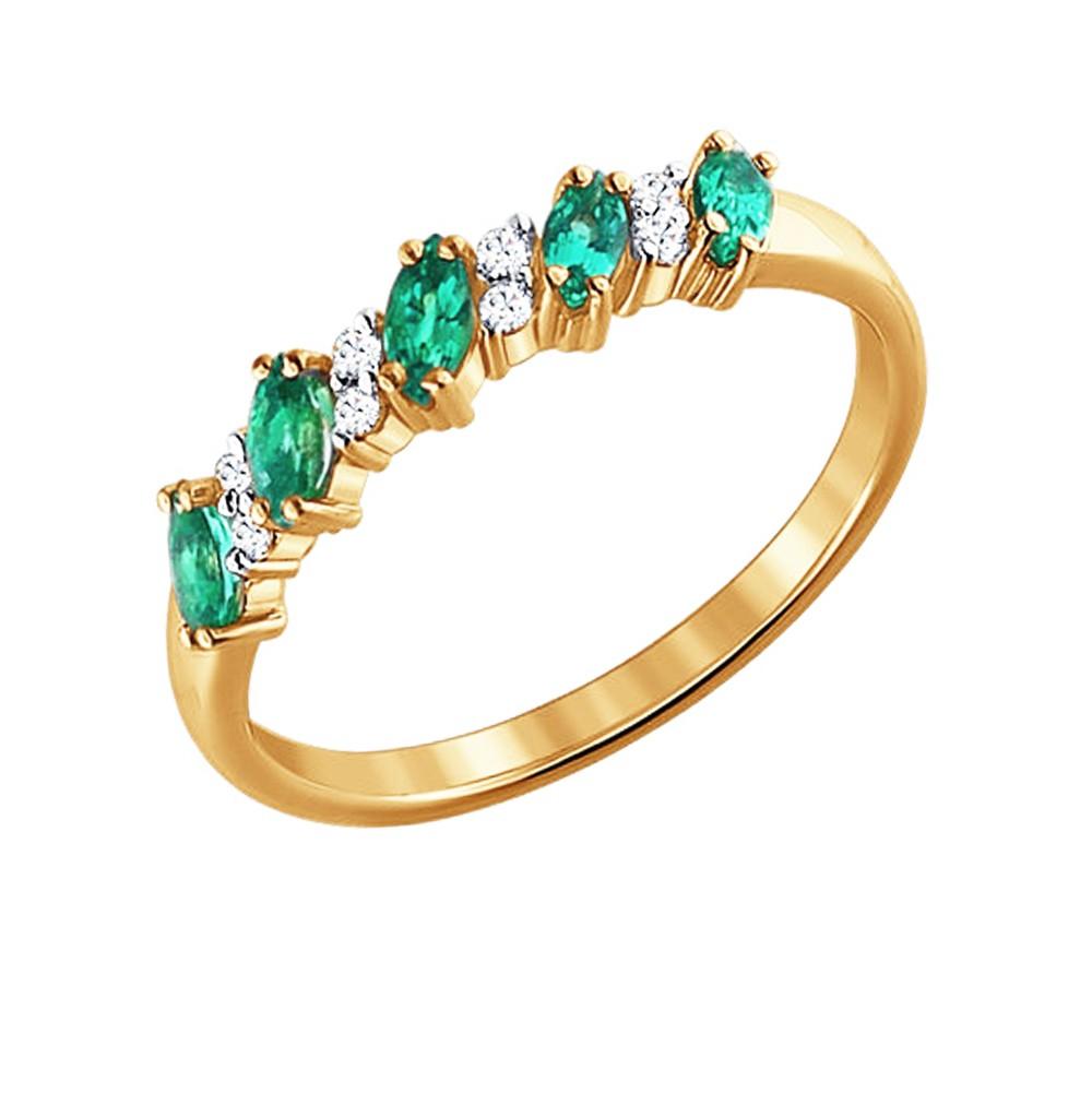 Фото «Золотое кольцо с изумрудами и бриллиантами SOKOLOV 3010027»
