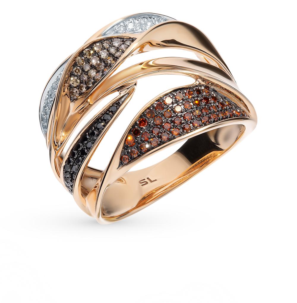 золотое кольцо с чёрными и коньячными бриллиантами и бриллиантами