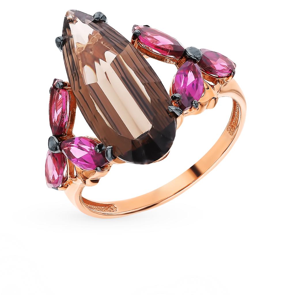Фото «Золотое кольцо с родолитами и раухтопазами»