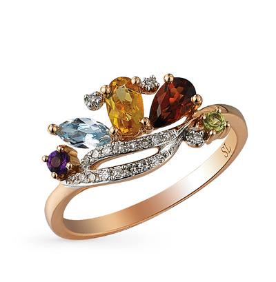 Золотое кольцо с хризолитом, аметистом, топазами, гранатом, цитринами и бриллиантами в Екатеринбурге