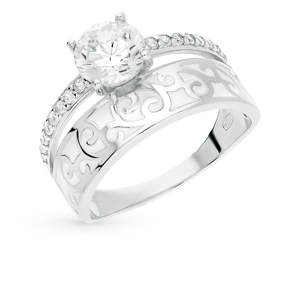 Серебряное кольцо с фианитами и эмалью SOKOLOV 94011138 в Екатеринбурге