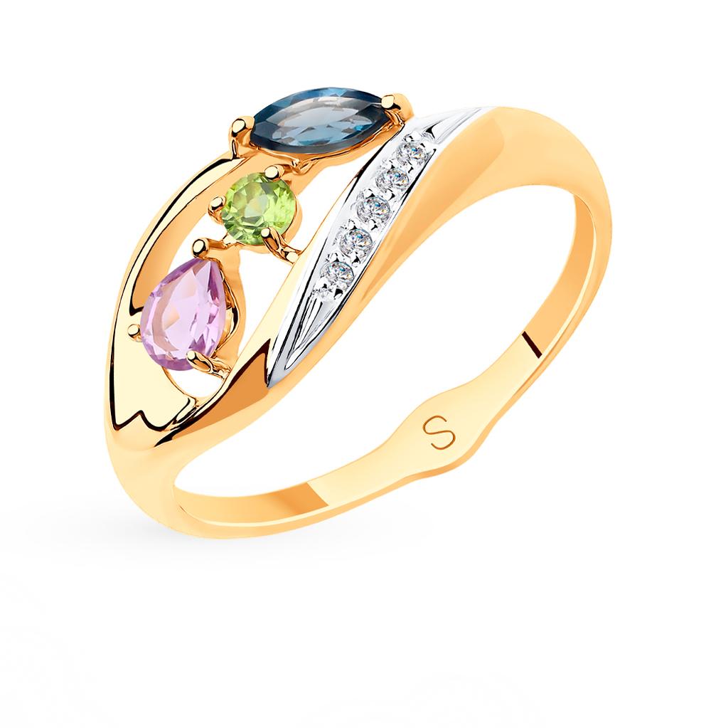 Фото «Золотое кольцо с хризолитом и аметистом SOKOLOV 715543*»