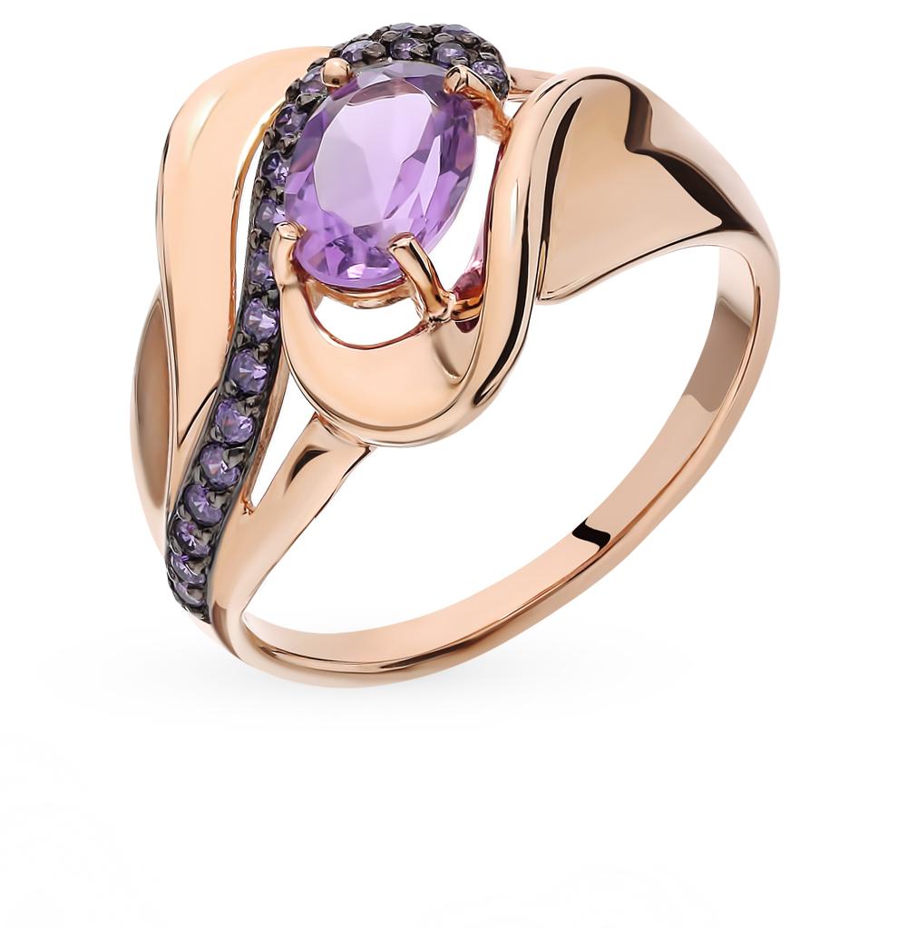 золотое кольцо с аметистом и фианитами SOKOLOV 714782*