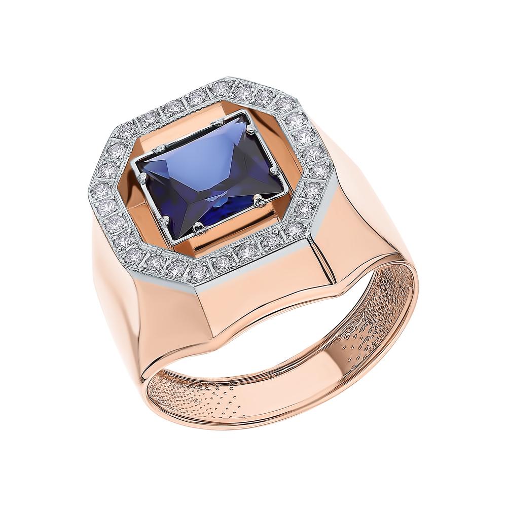 Фото «Золотое кольцо с сапфирами и фианитами»