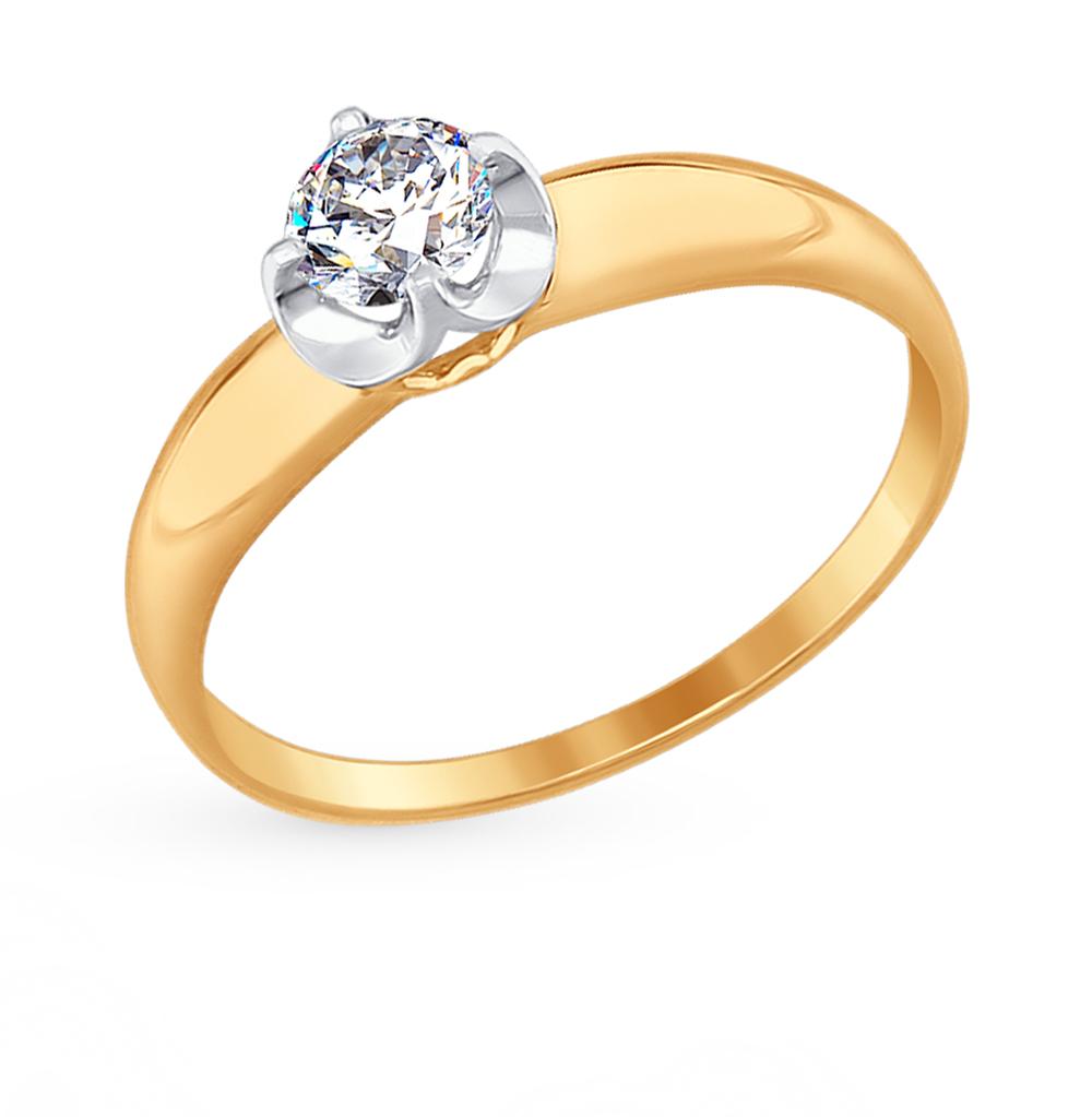 золотое кольцо с фианитами SOKOLOV 017389*