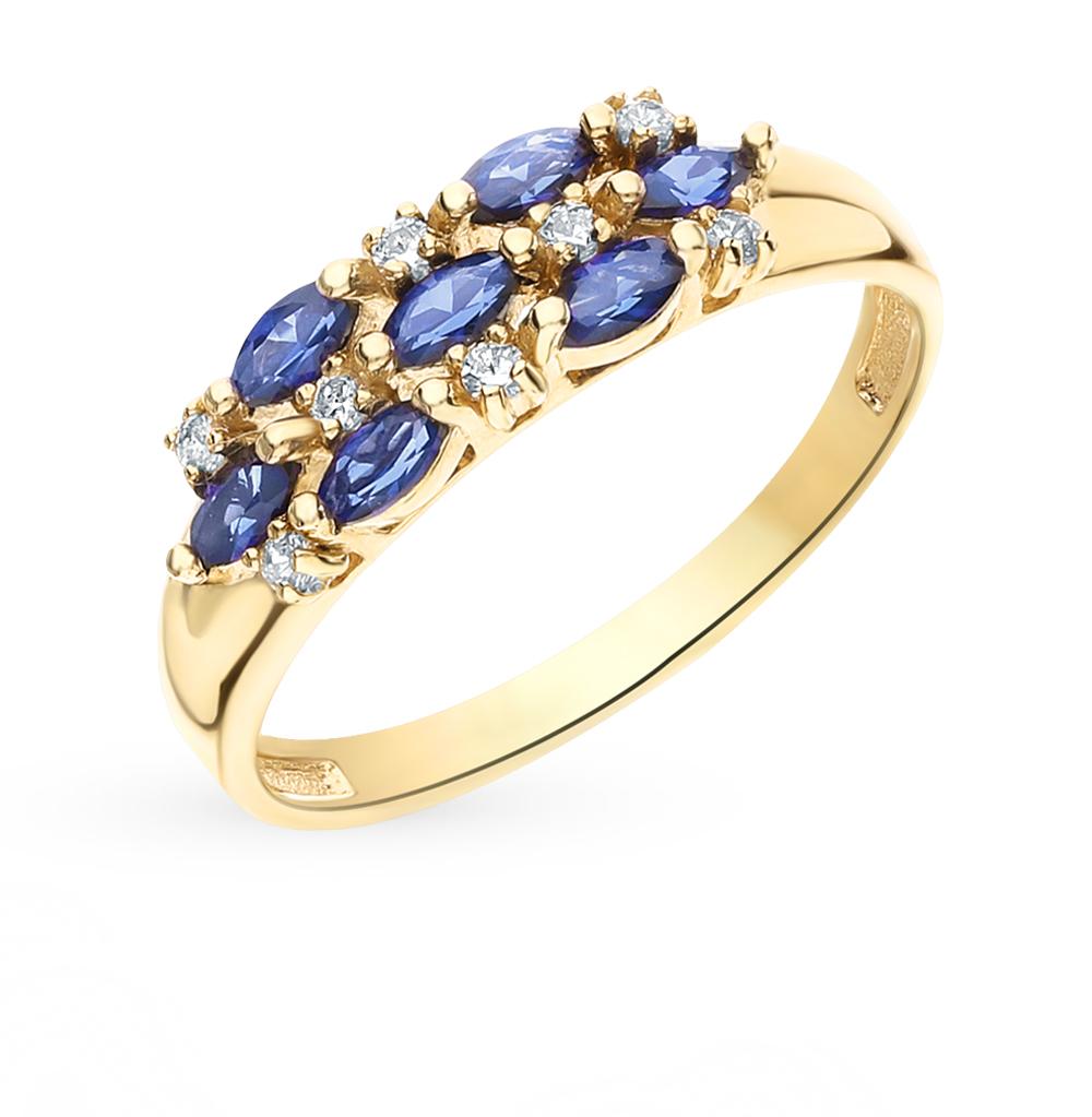 Золотое кольцо с сапфирами и фианитами в Екатеринбурге