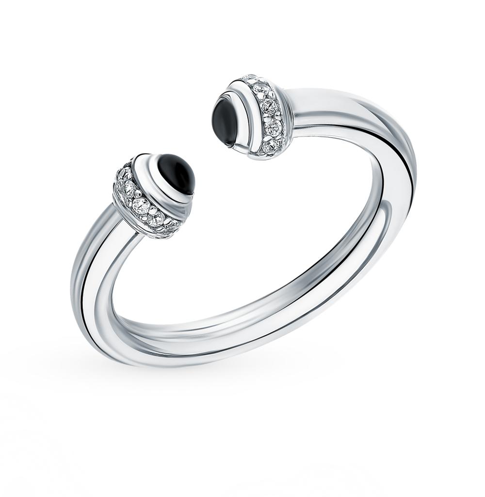 серебряное кольцо с ониксом и фианитами