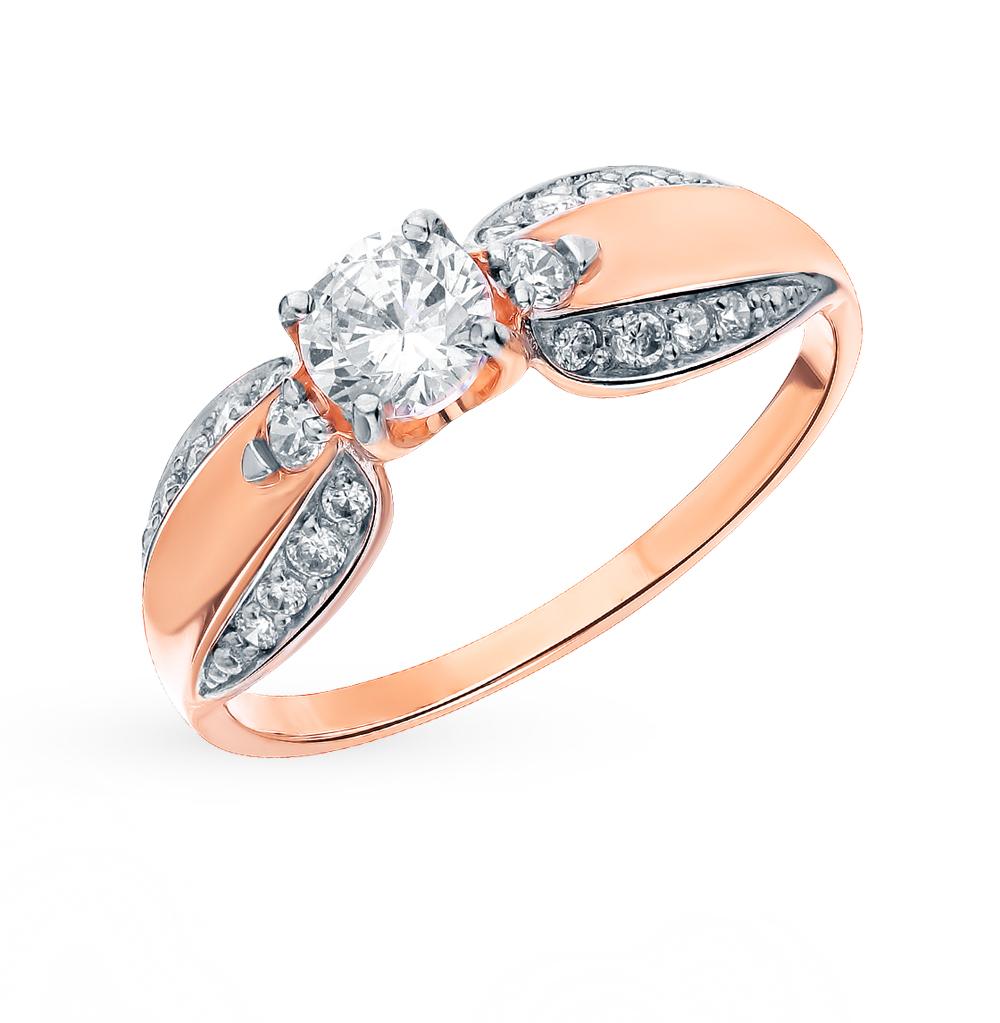 золотое кольцо с фианитами SOKOLOV 018317*