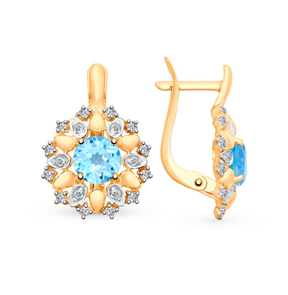 Фото «Золотые серьги с топазами и фианитами SOKOLOV 725336*»