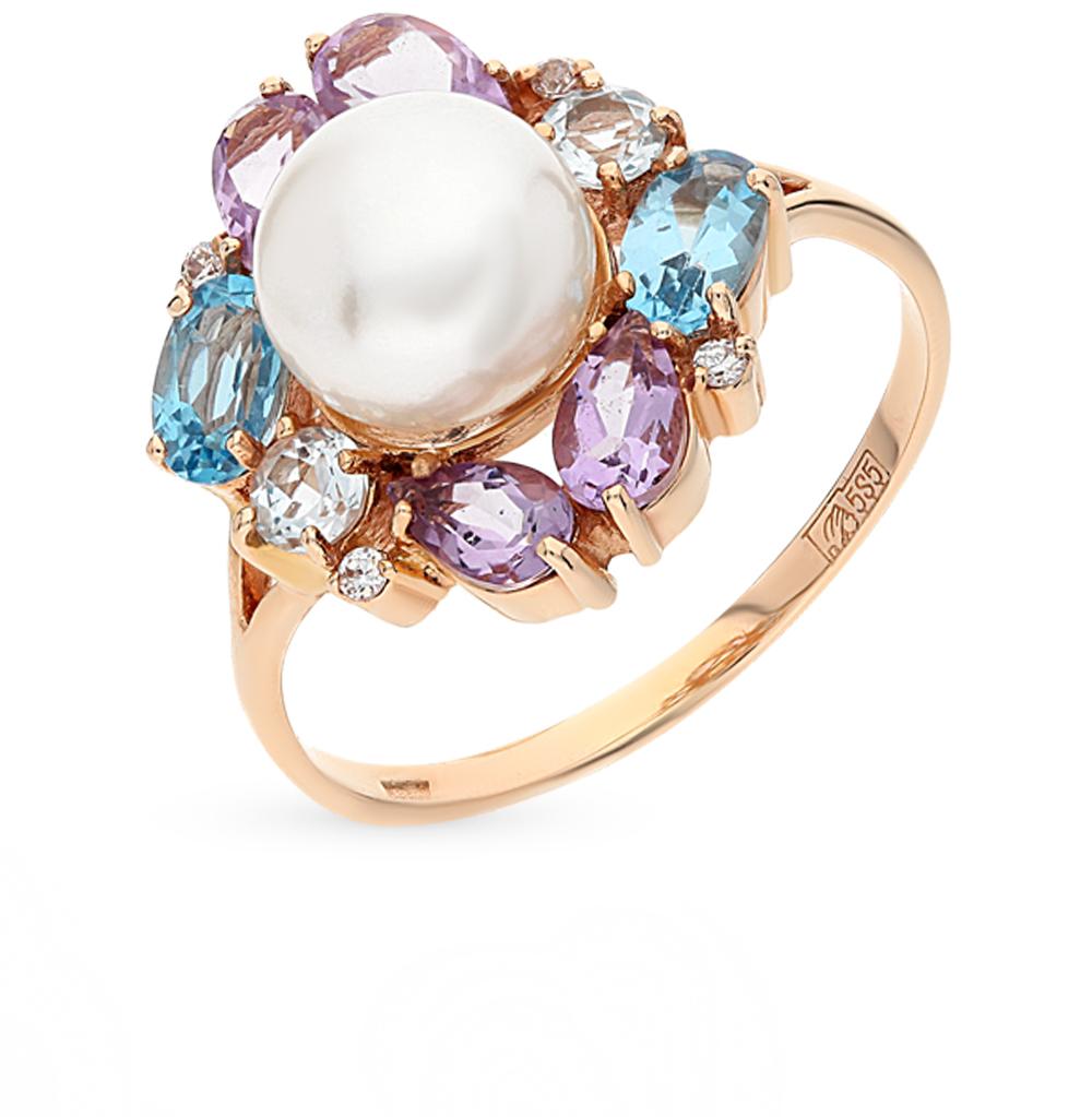 Фото «золотое кольцо с аметистом, топазами, фианитами и жемчугом»