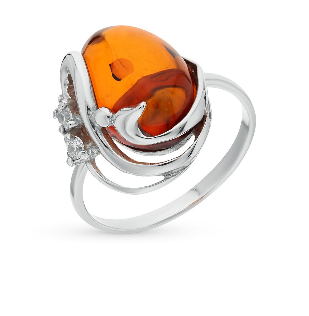 серебряное кольцо с фианитами и янтарем