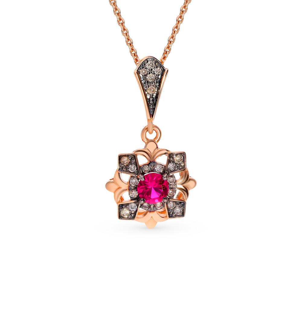 Золотая подвеска с коньячными бриллиантами и рубином