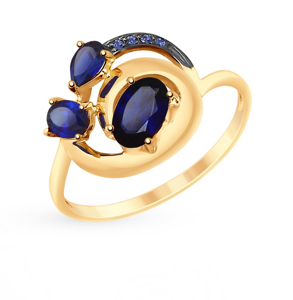 Фото «Золотое кольцо с корундом и фианитами SOKOLOV 715183*»