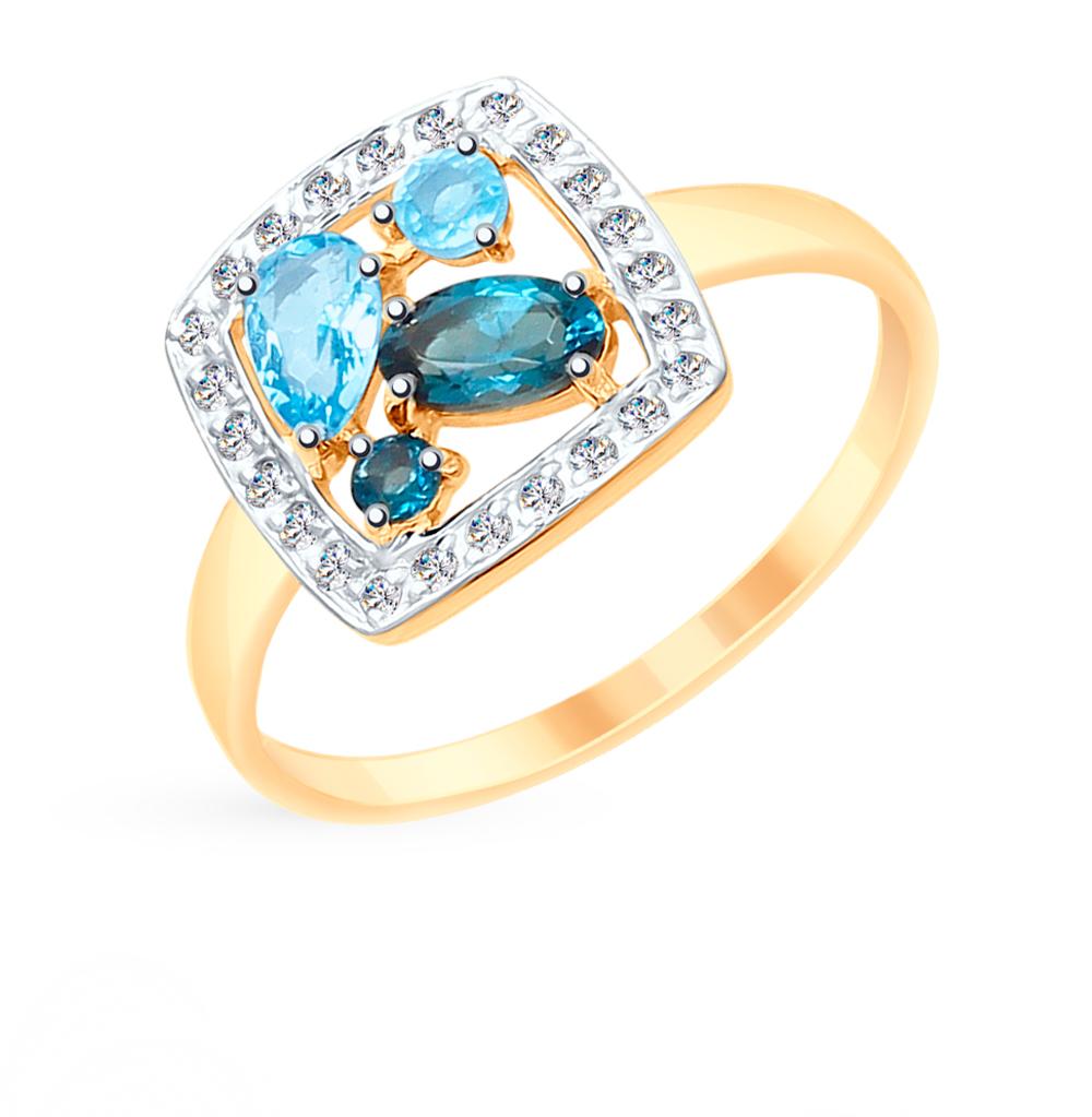 Фото «Золотое кольцо с топазами и фианитами SOKOLOV 715232*»
