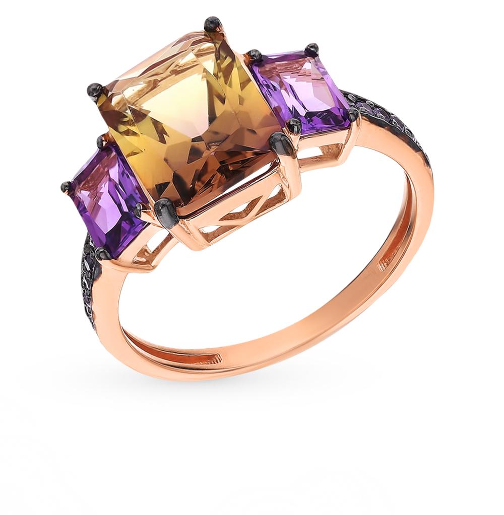 Фото «Золотое кольцо с аметистом, аметрином и фианитами»