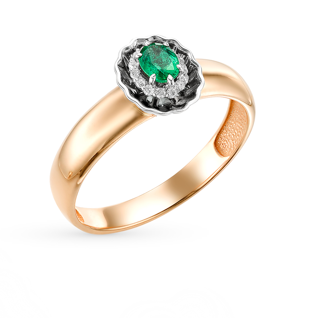 Фото «золото кольцо с изумрудами и бриллиантами»