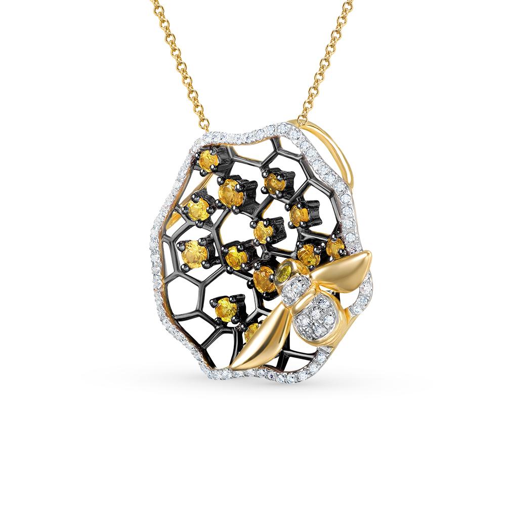 Фото «золотая подвеска с цитринами и бриллиантами»