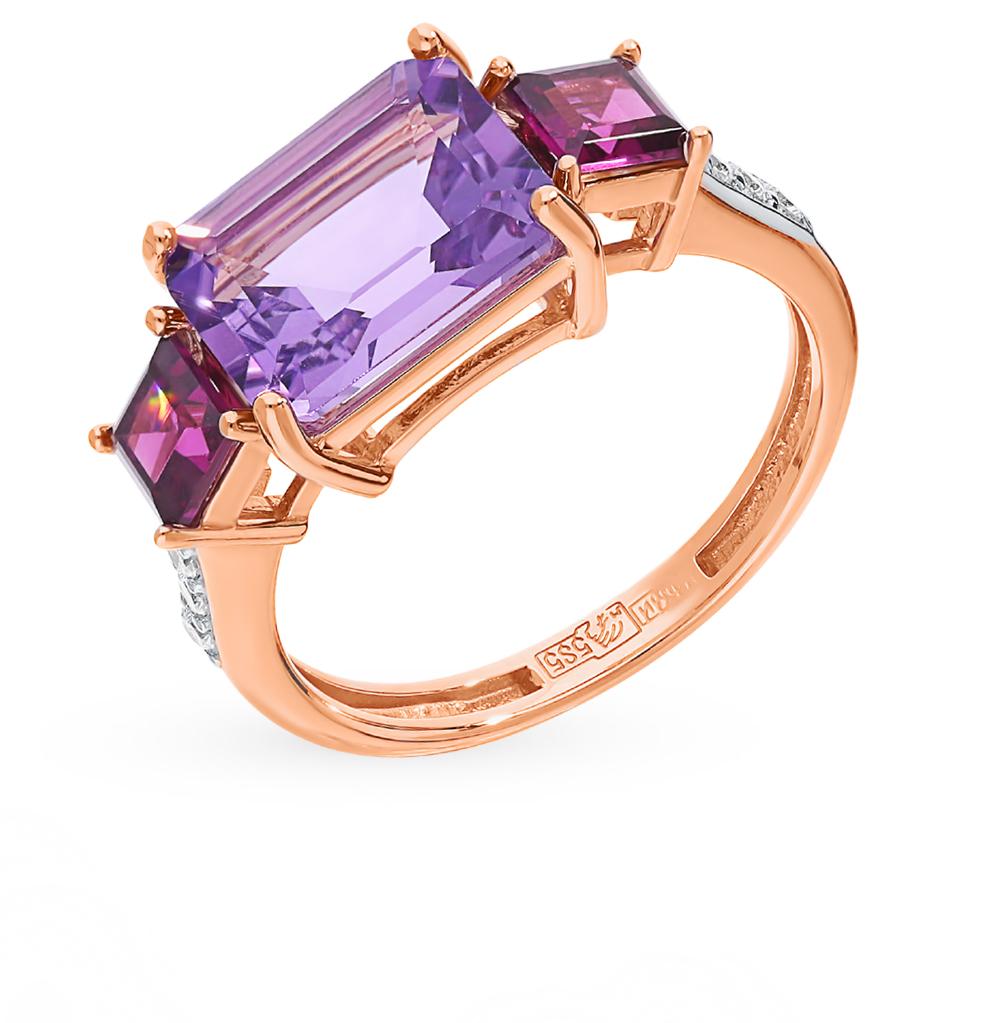 Фото «Золотое кольцо с родолитами, аметистом и фианитами»