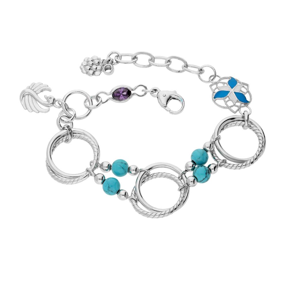Фото «серебряный браслет с бирюзой, фианитами и эмалью»