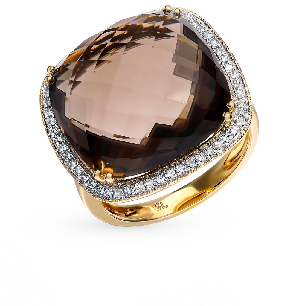 Золотое кольцо с раухтопазом и бриллиантами в Санкт-Петербурге