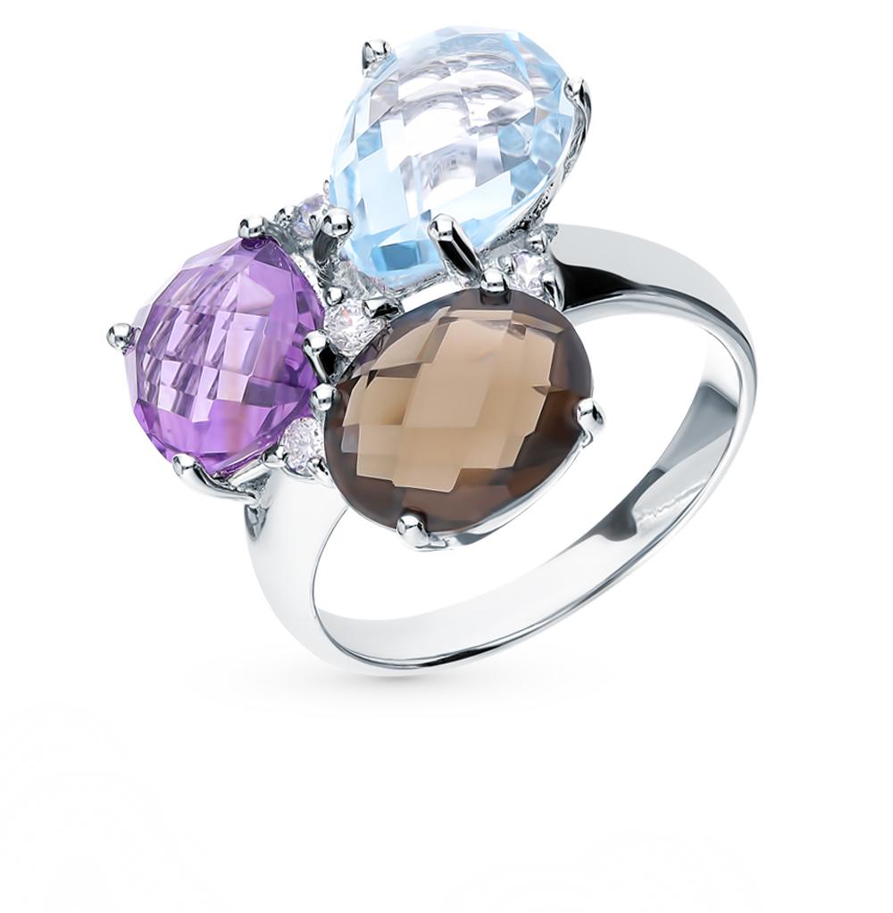 серебряное кольцо с аметистом, кварцем, топазами и фианитами