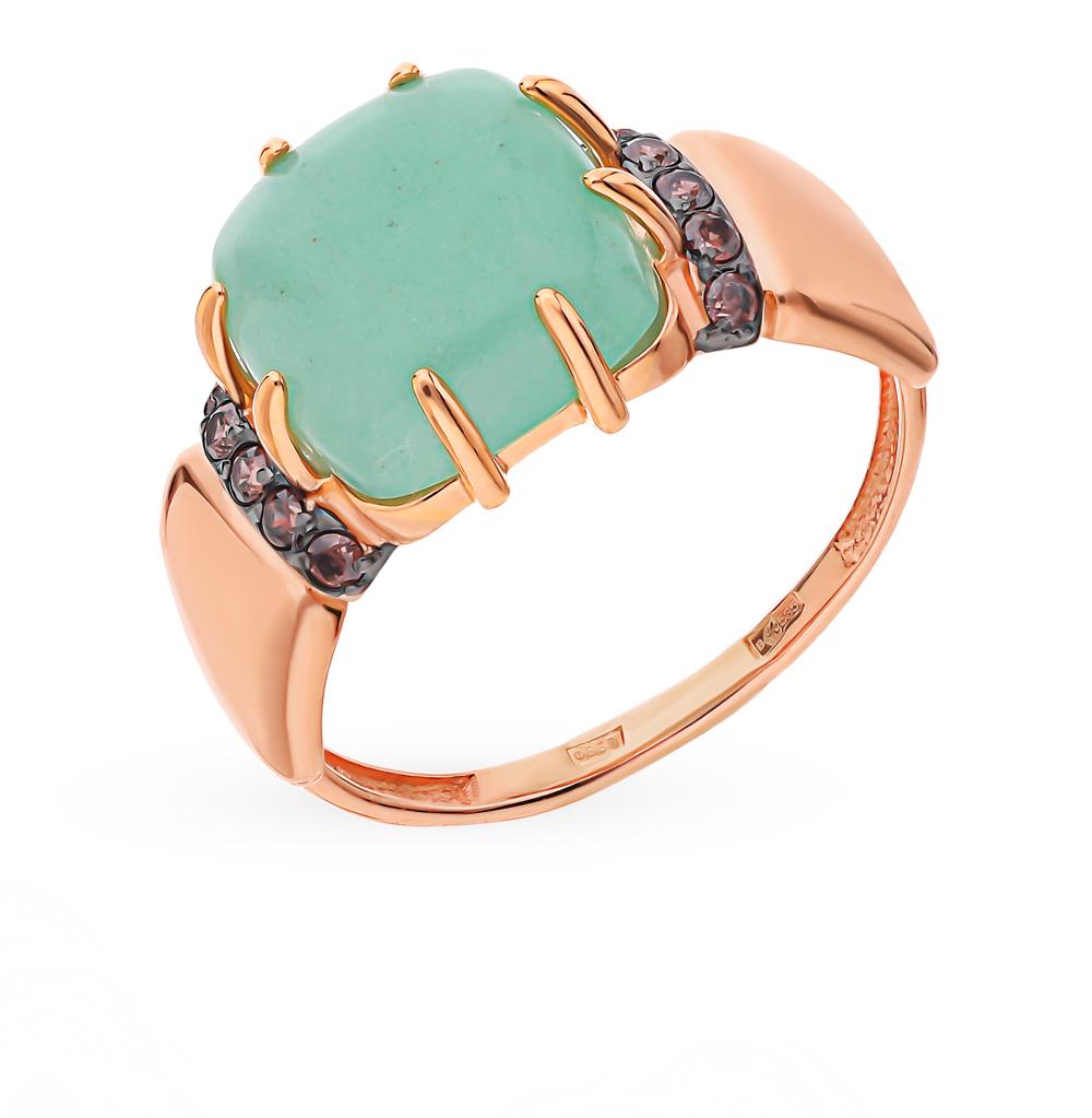 Золотое кольцо с нефритом и фианитами в Санкт-Петербурге