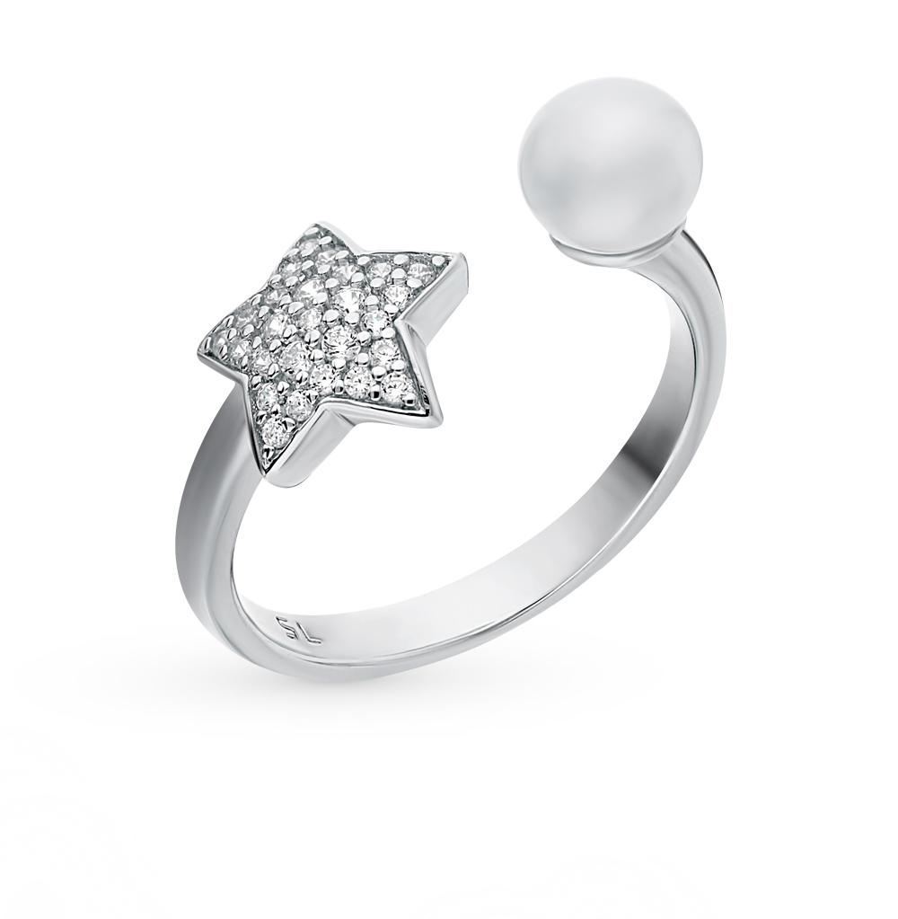 Серебряное кольцо с фианитами и жемчугом в Санкт-Петербурге