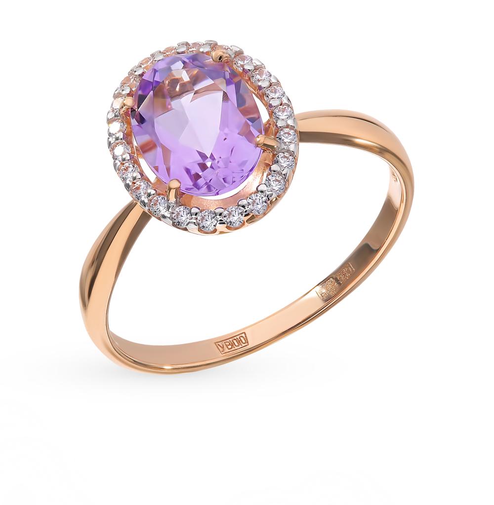 золотое кольцо с аметистом и фианитами SOKOLOV 714965*