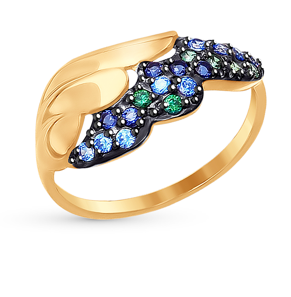 золотое кольцо с фианитами SOKOLOV 017277*
