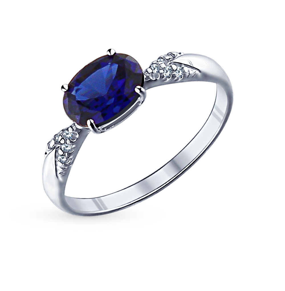 Фото «Серебряное кольцо с корундом и фианитами SOKOLOV 88010002»