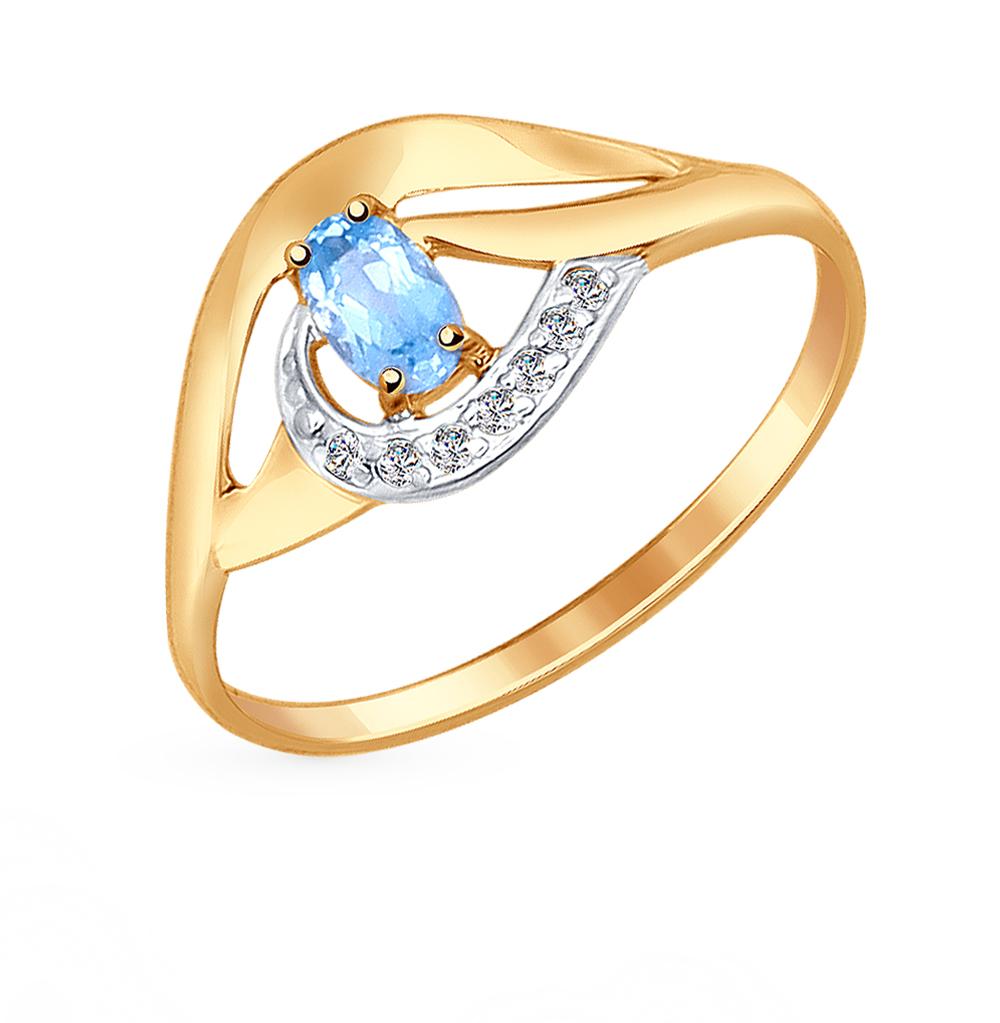 Золотое кольцо с топазом и фианитами SOKOLOV 714641* в Екатеринбурге