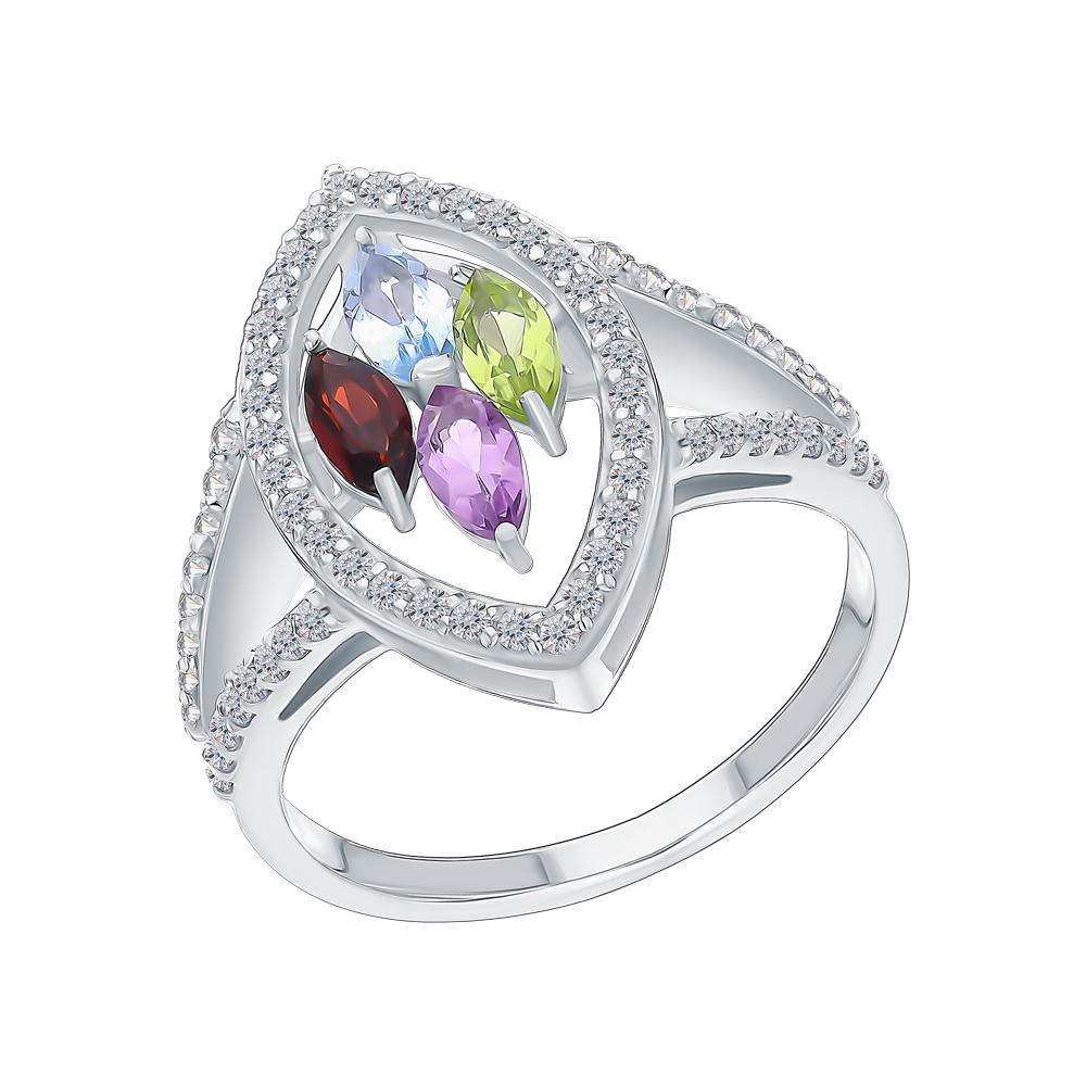 Серебряное кольцо с хризолитом, аметистом, топазами, фианитами и гранатом в Екатеринбурге