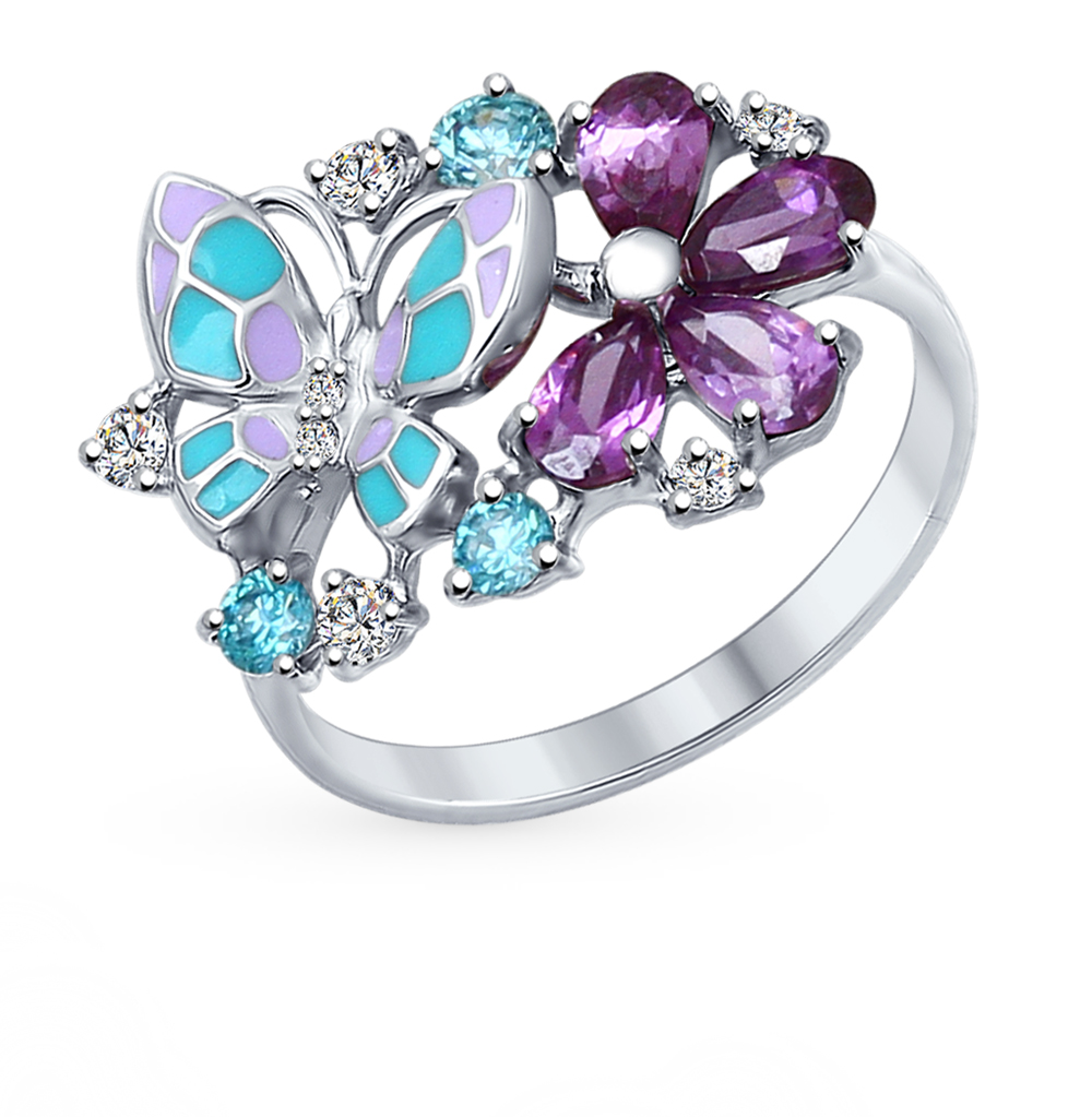 Серебряное кольцо с фианитами SOKOLOV 94012320 в Санкт-Петербурге