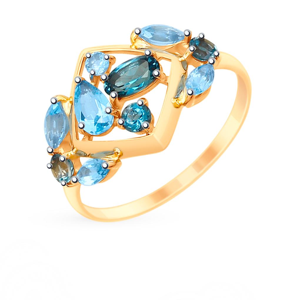 золотое кольцо с топазами SOKOLOV 715248*