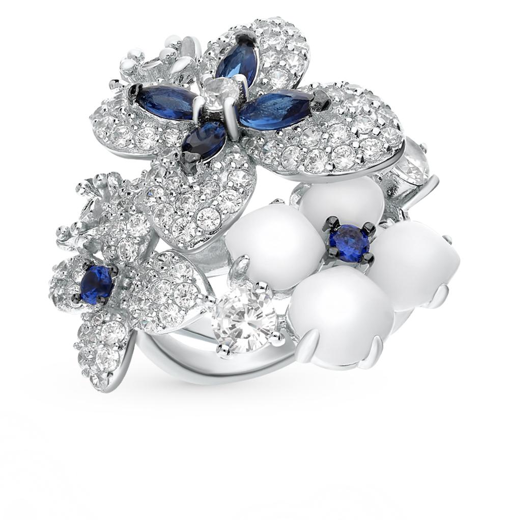 серебряное кольцо со шпинелью, фианитами и агатом