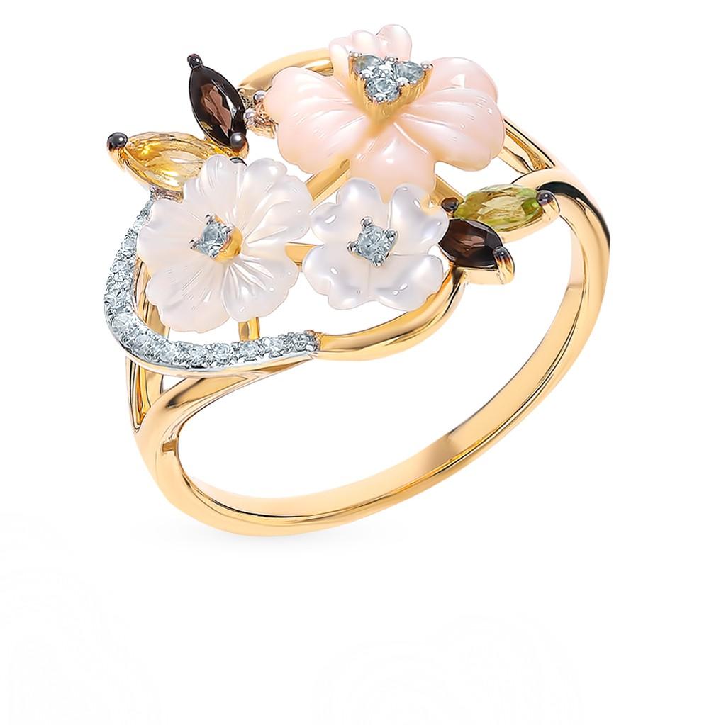 Золотое кольцо с сапфирами, хризолитом, перламутром, цитринами, кварцами дымчатыми и бриллиантами в Санкт-Петербурге