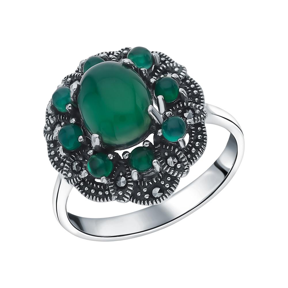 Фото «Серебряное кольцо с марказитами и хризопразами»