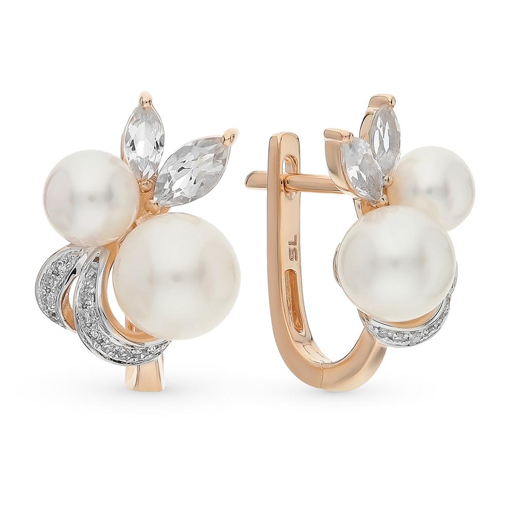 Золотые серьги с топазами, жемчугом и бриллиантами в Санкт-Петербурге