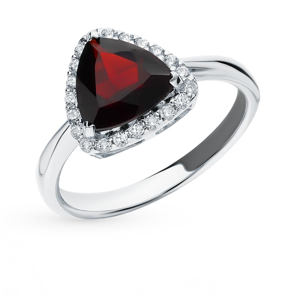 серебряное кольцо с фианитами и гранатом