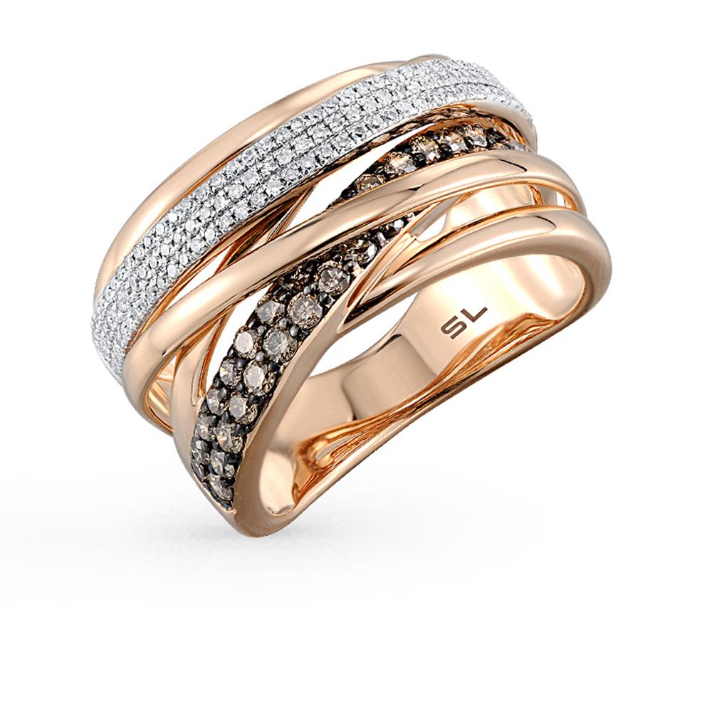 золотое кольцо с коньячными бриллиантами и бриллиантами
